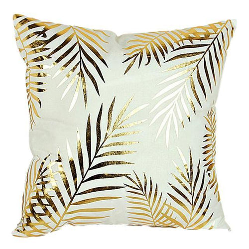 Gold Palm Leaves Pillow Case