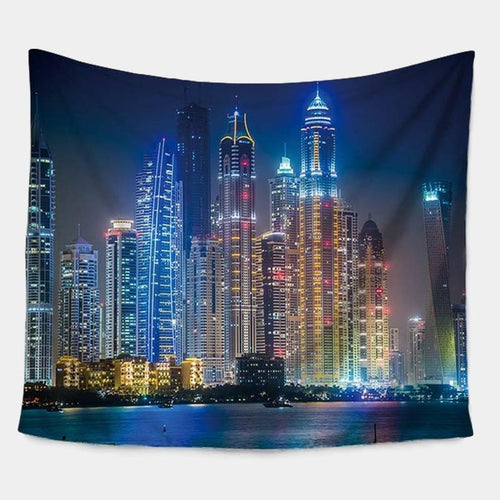 Night Time City Scenery Tapestry
