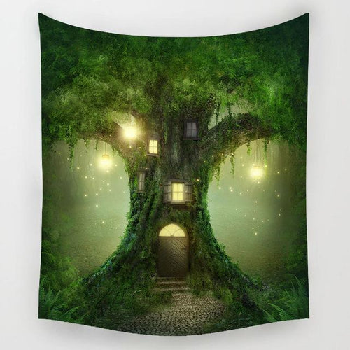 Green Treehouse Tapestry