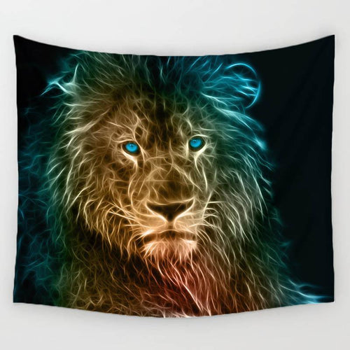 Luminescent Lion Tapestry