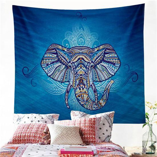 Blue Elephant Tapestry