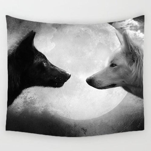 Monochrome Wolves Tapestry