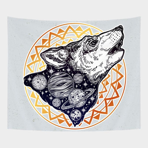 Galactical Wolf Tapestry