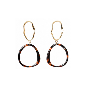 Charlotte Tortoise Wave Hoops - Kicheko Goods, Gold-Plated Organic Hoops and Brown Acetate