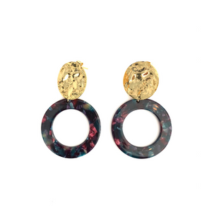Eva Brass and Dark Floral Acetate Earrings