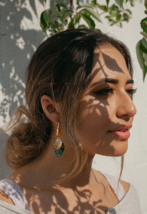 Monstera Hammered Hoops - Kicheko Goods