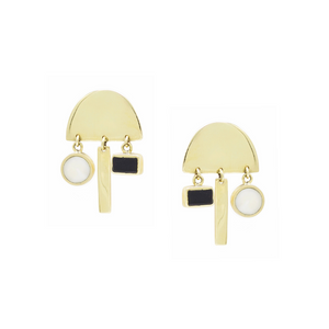 Olenna Geometric Brass Earrings - Kicheko Goods