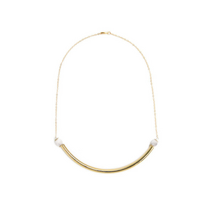 Beaded Brass Arc Gold-Filled Necklace