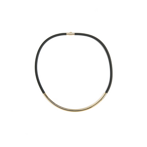 Elastic Heart Black Neoprene Gold-plate Brass Necklace, Choker