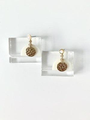 Opal Horn Brass Hammered Drops - KIcheko Goods