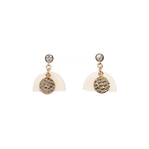 Ivory Horn Brass Hammered Drop Earrings