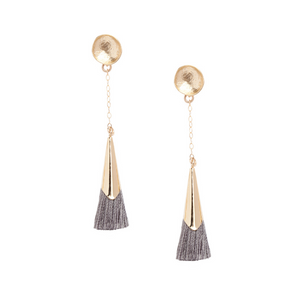 Charcoal Plume Tassel Earrings - Kicheko Goods