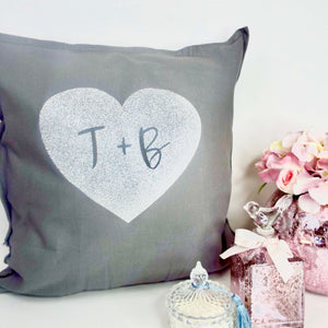 Heart with 2 Letters Personalised Glitter Cushion