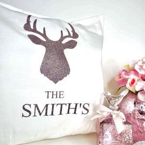 Stag's Head Family Name Glitter Cushion