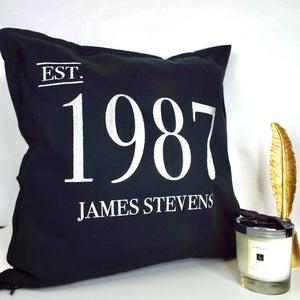 Year & Name Birthday Personalised Glitter Cushion