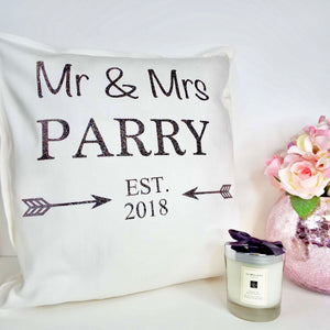 Arrow Personalised Glitter Cushion