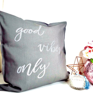 Good Vibes Only Personalised Glitter Cushion
