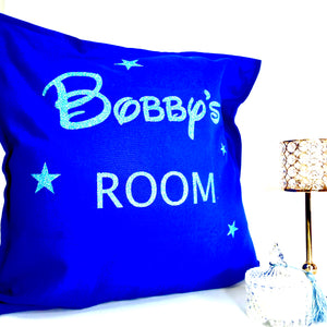 Boys Room Personalised Glitter Cushion