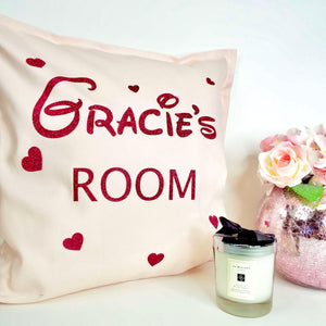 Girls Room Personalised Glitter Cushion