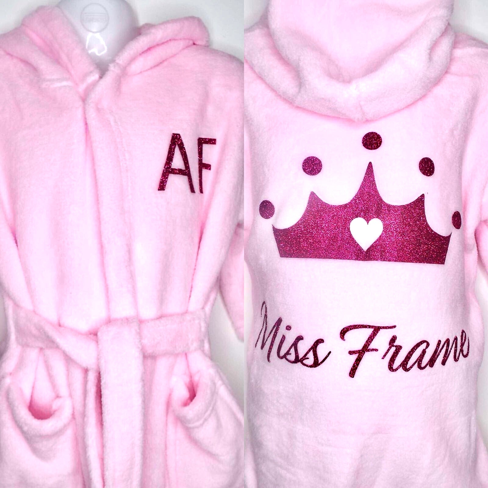 Girls Personalised Dressing Gown with Crown - frankiesboutique