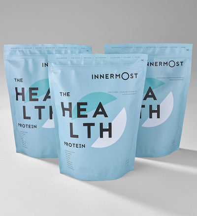 Pouches of The Health Protein - a nutritional supplement developed by Innermost