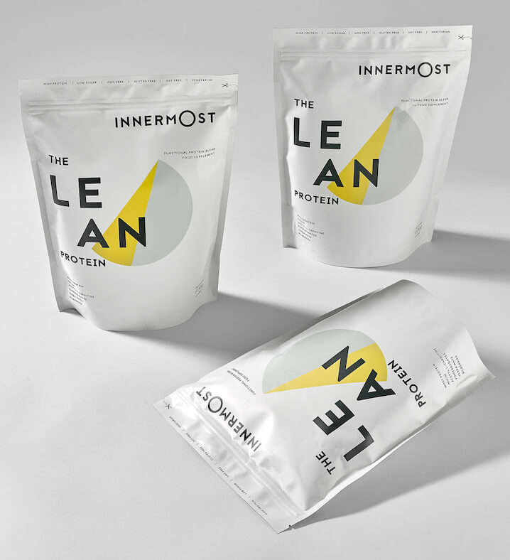 Pouches of The Lean Protein - a nutritional supplement developed by Innermost