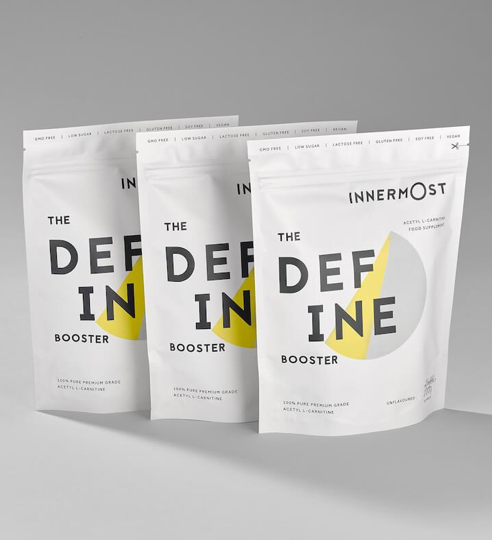 Pouches of The Define Booster - a nutritional supplement developed by Innermost