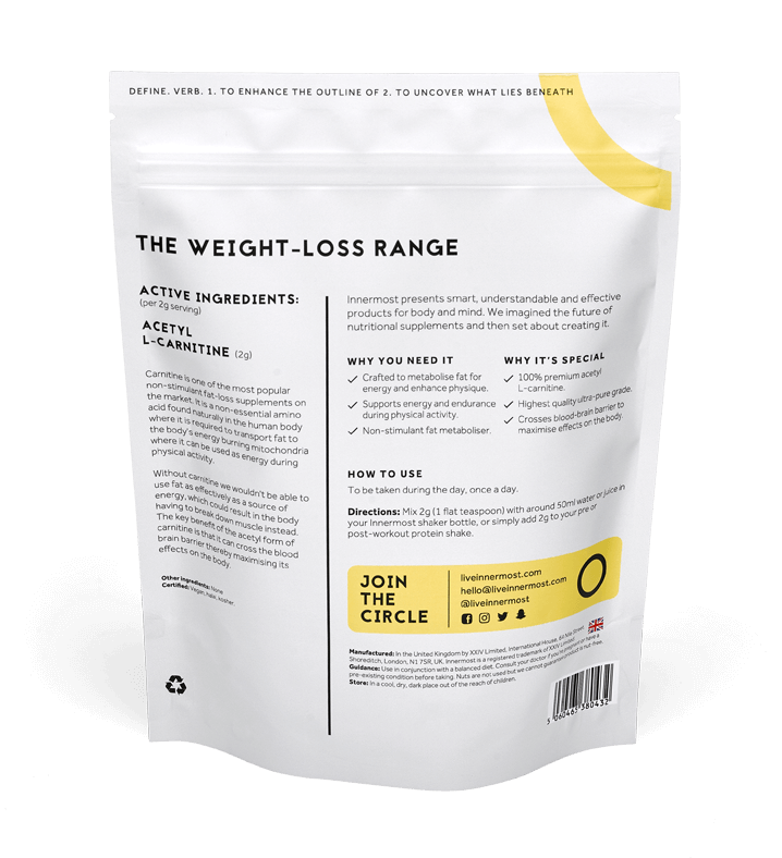 A pouch of The Define Booster - a nutritional supplement developed by Innermost