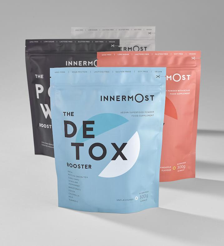 A pouch of The Detox Booster - a nutritional supplement developed by Innermost