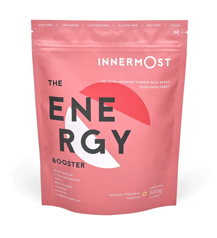 A pouch of The Energy Booster - a nutritional supplement developed by Innermost
