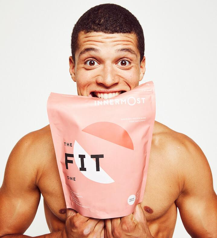 Greg Ennis with a pouch of The Fit Protein - a nutritional supplement developed by Innermost