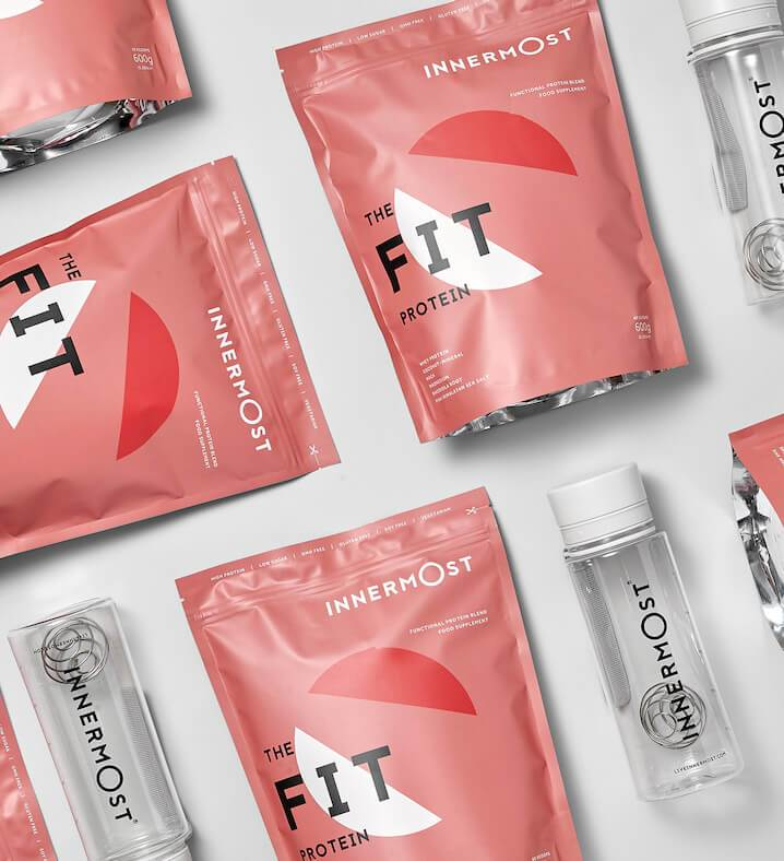 Pouches of The Fit Protein - a nutritional supplement developed by Innermost