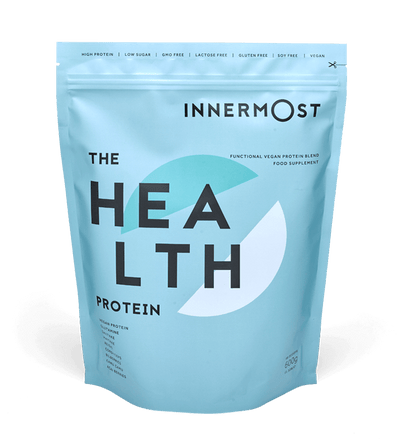 A pouch of The Health Protein - a nutritional supplement developed by Innermost