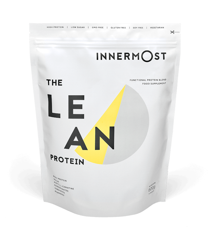 A pouch of The Lean Protein - a nutritional supplement developed by Innermost