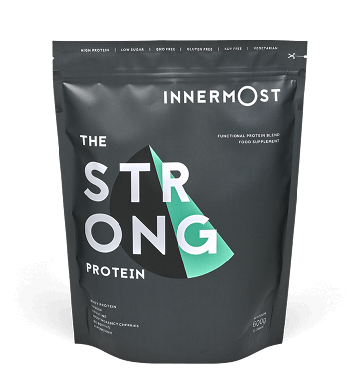 A pouch of The Strong Protein - a nutritional supplement developed by Innermost