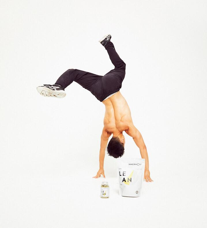 Barry He somersaulting over The Lean Protein