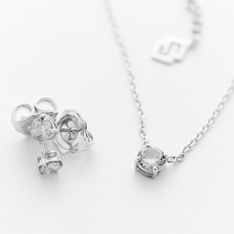 Solitaire Stud Earring and Necklace