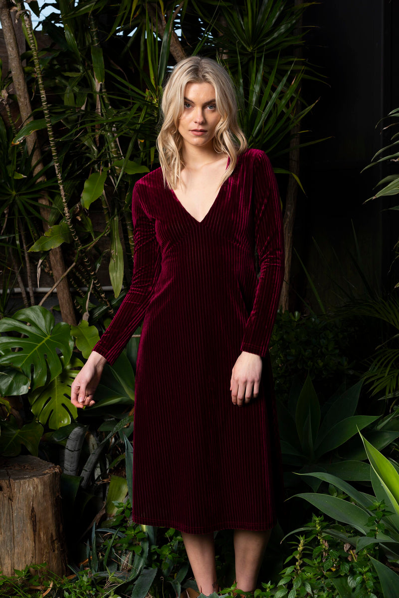 Velvet Ribbed Dress