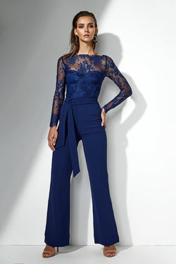 Heidi Lace Pantsuit Navy - Miss Holly Pantsuits & Playsuits