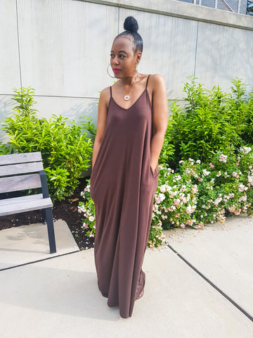 Keep It Cozy Maxi Dress - LT Grey and Americano