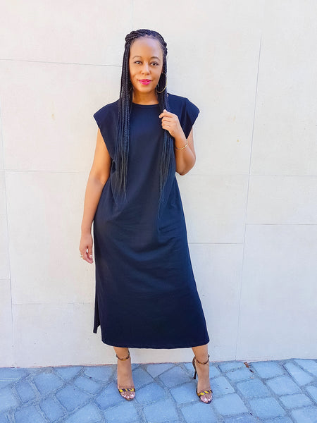 Padded Shoulder T-Shirt Midi Dress