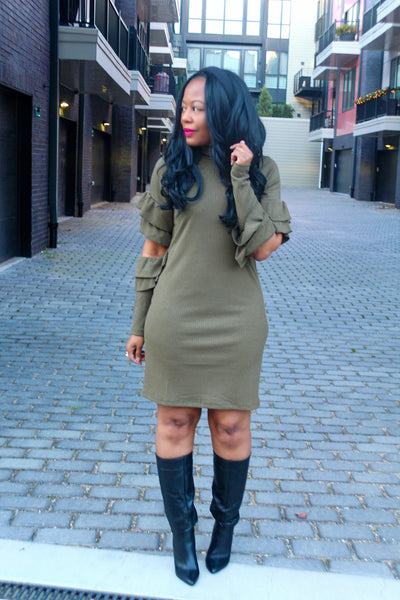 Ribbed Ruffle Long Sleeve Dress