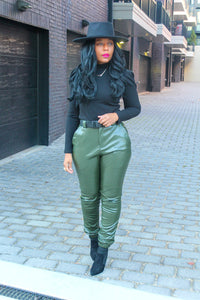 High Rise Faux Leather Joggers With Belt