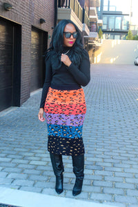 Leopard Color Block Midi Sweater Skirt