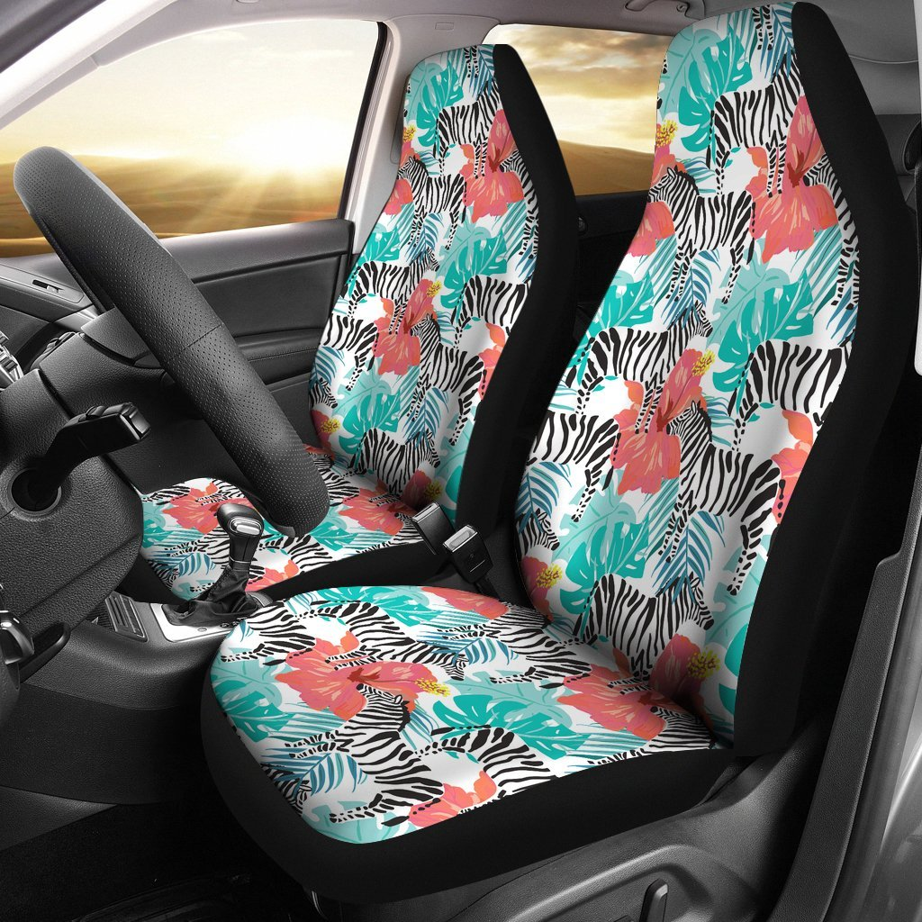ZEBRA AND HIBISCUS CAR SEAT COVERS