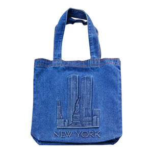 New York Skyline Embossed Tote Bag - Mean-Tees.com