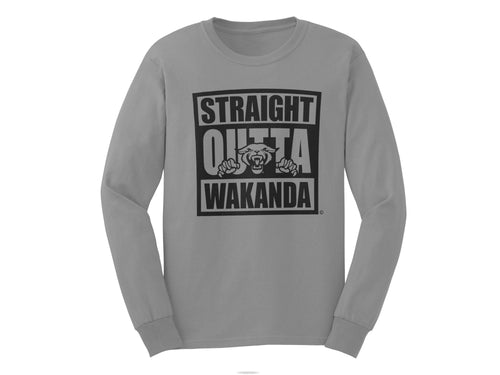 Straight Outta Wakanda Long Sleeve T-shirt - Mean-Tees.com