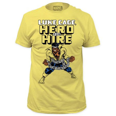 Luke Cage Hero For Hire Classic T-shirt  Brave. Righteous. Yellow. It's all love for this officially licensed Marvel T-shirt celebrating Luke Cage Hero For Hire. www.Mean-Tees.com