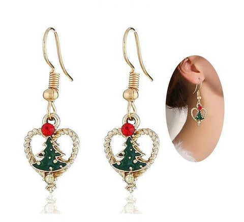 Image of Heart Christmas Tree Earrings