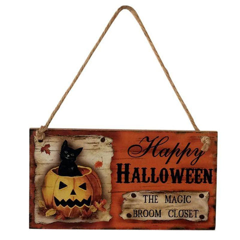 Happy Halloween Hanging Wooden Sign